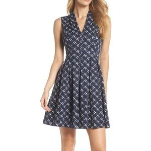 Navy pattered dress with pockets